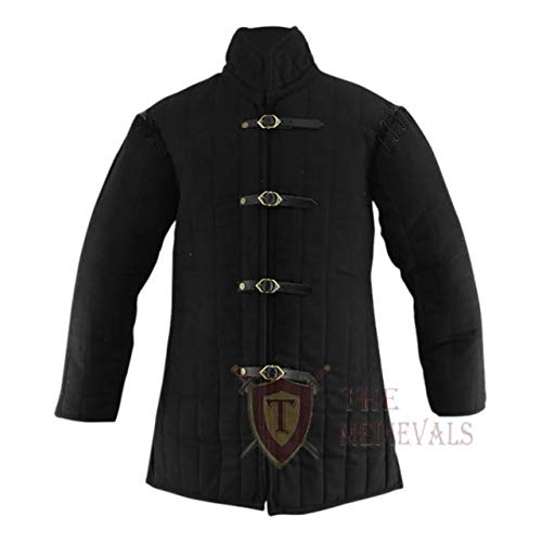 Medieval Gambeson Thick Padded Coat Aketon Jacket Armor,Black cotton Fibers