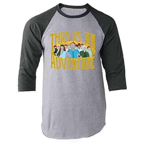 This is an Adventure Minimalist Gray L Raglan Baseball Tee Shirt