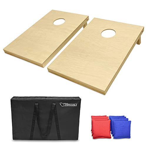 GoSports Solid Wood Premium Cornhole Set - Choose Between 4'x2' or 3'x2' Game Boards | Includes Set of 8 Corn Hole Toss Bags, Tailgate Size (3ft x 2ft)
