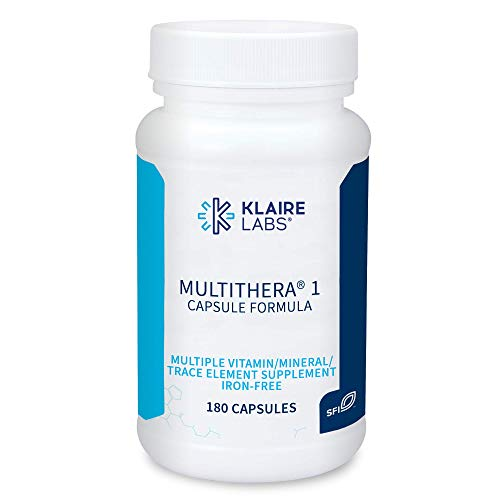 Klaire Labs MultiThera 1 Iron-Free Multivitamin & Multimineral Capsule Formula with Essential Micronutrients - High Potency with Bioactive Folate & B12 - No Iron (180 Capsules)