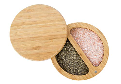 Relative Foods 2 Compartment Bamboo Duet; Set includes Himalayan Pink Salt and Pepper