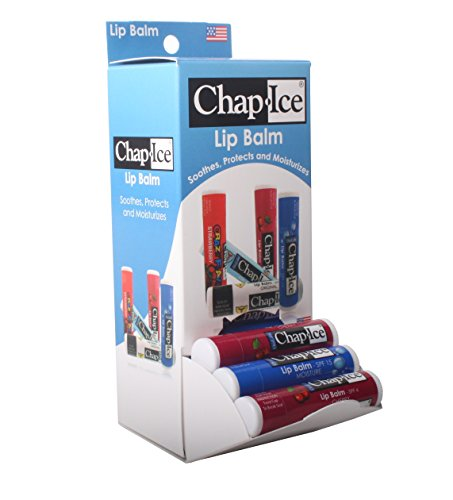 Chap-Ice Assorted Lip Balms – Cherry & Moisture SPF-15 Flavors – 24-Count with Gravity Feed Display