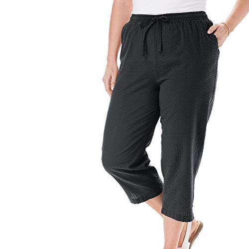Woman Within Women's Plus Size Seersucker Capri Pant - 24 W, Black