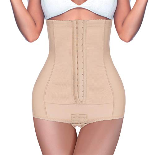 BRABIC Postpartum Girdle High Waist Control Panties for Belly Recovery Compression Butt Lifter Slimming Underwear (Beige, L (Waist 28.3'-31.5'))