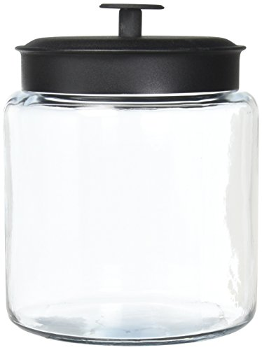 Anchor Hocking 96712 Mini Montana Jars with Black Metal Covers, 96 Ounce