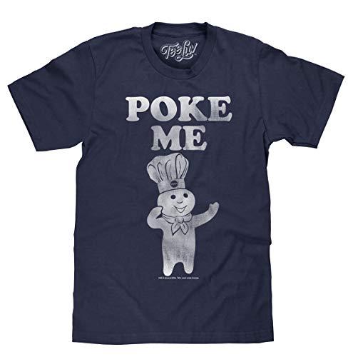 Tee Luv Pillsbury Doughboy T-Shirt - Distressed Poke Me Graphic Shirt (Denim Heather) (L)