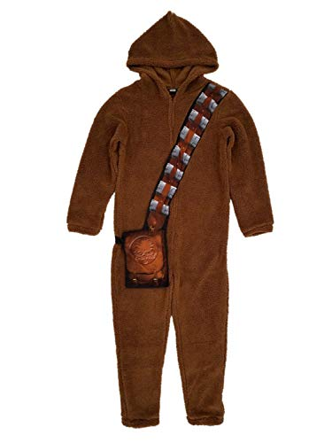 Star Wars Mens Plush Chewbacca Chewy Costume Union Suit Hooded Pajamas M Brown