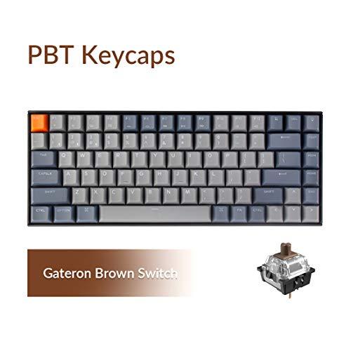 Keychron K2 Bluetooth Wireless Mechanical Keyboard with Double Shot PBT Keycaps/Gateron Brown Switch/White LED Backlit/Anti Ghosting/N-Key Rollover, 84 Key Tenkeyless Keyboard for Mac Windows