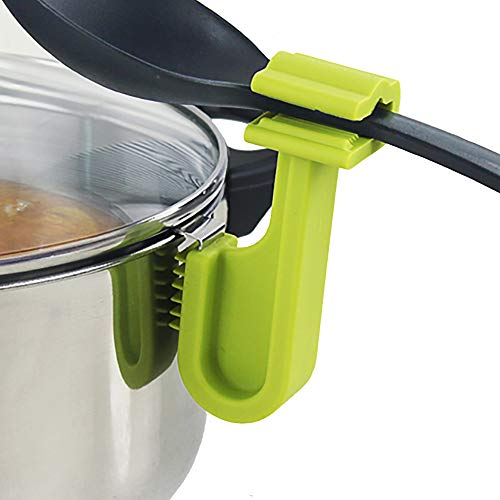 Cestash Pot Clip for Spoons - Heat Resistant Spoon Holder - Stainless Steel and Silicone Design for Extra Protection - Spoon Dock for Utensils (Green)