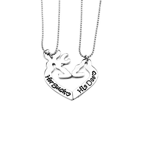 NextStone Simple Her Buck&His Doe Heart-Shaped Elk Split Couple Necklace Sets of Chain 2PCS