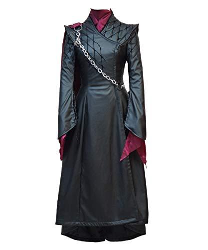 Expeke Women Halloween Queen Black Pu Leather Costume Dress Coat Cosplay Outfit (Women XXL, Black Fullset)