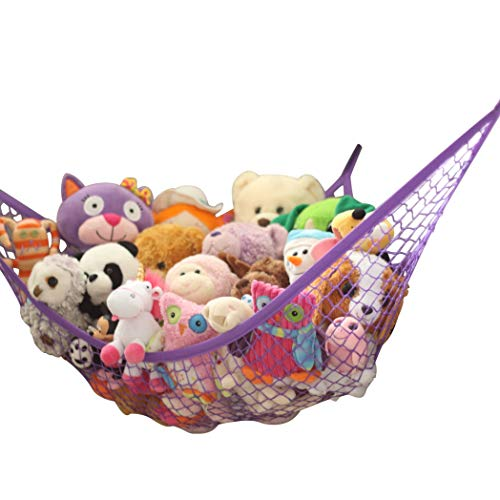 MiniOwls Storage Hammock Stuffed Toys Organizer - Fits 30-40 Plush Animals. Great Gift for Boys and Girls. Instead of Bins and Toy Chest – Displays Teddies Easily. (Purple, X-Large)