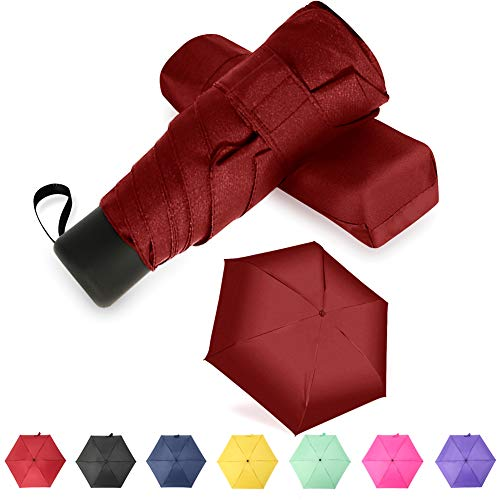 GAOYAING Travel Mini Umbrella Sun&Rain Lightweight Totes Small and Compact Suit for Pocket Red