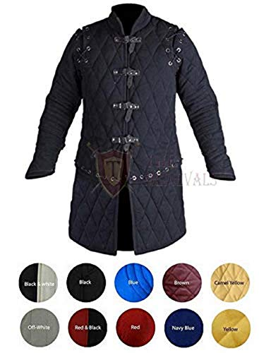 Medieval Thick Padded Full Sleeves Gambeson Coat Aketon Jacket Armor, Black Cotton Fabric - Medium