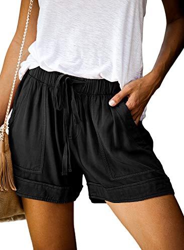 Elapsy Womens Ladies Elegant Summer Casual Short Drawstring Elastic Waist Summer Workout Yoga Hot Running Loungewear Shorts with Pockets Black Medium