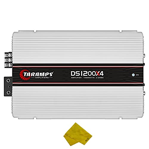 Taramps 4 Channel Car Amplifier – Class D Multichannel Amplifier 1200 Watt RMS, Car Electronics Car Audio Subwoofer 2 Ohm Stable Bass Boost Crossover for Car Speakers Sub Amp