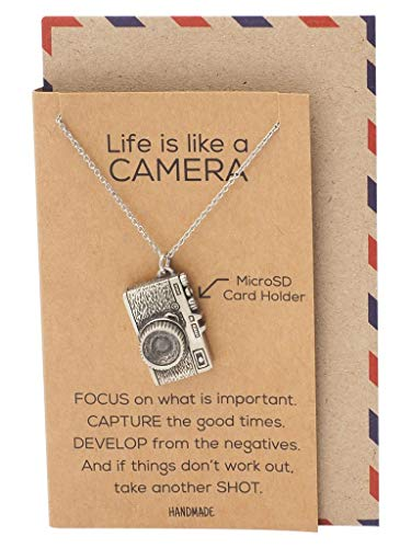 Quan Jewelry Cute Vintage Camera Miniature Jewelry for Women, Photography Gifts (Necklace - with MicroSD Card Holder)