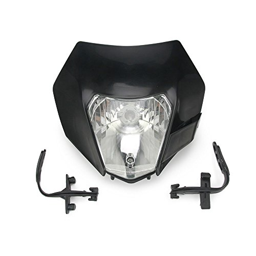 Universal 12V 35W Motorcycle Headlight Indicator Fairing Lampshade Street Fighter For Dirt Pit Bike Motocross Yamaha Suzuki Kawasaki (Black)