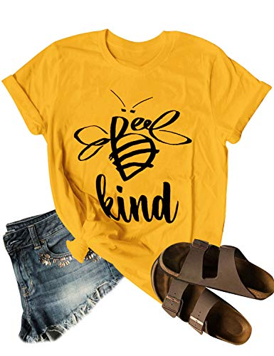 Dresswel Be Kind Tshirt Women Short Sleeve T-Shirt Bee Graphic Tee Long Sleeve Pocket Shirt Casual Tops
