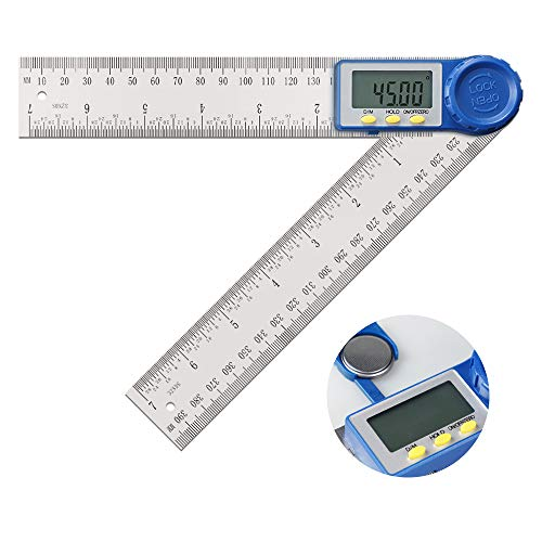 Angle Finder-Digital Protractor Angle Gauge, 2-in-1 Angle Measurement Tool for Woodworking/Carpenter/Construction/DIY, Goniometer Stainless Steel Ruler 360 Degrees Inch Metric Scale Rulers