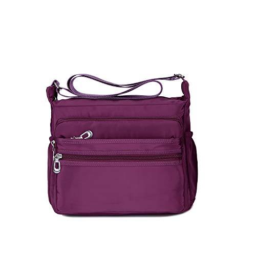 Crossbody Bag for Women Waterproof Shoulder Bag Messenger Bag Casual Canvas Purse Handbag (Small, Purple)