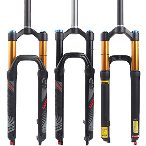 【US STOCK】 LUTU 26/27.5/29 Air MTB Suspension Fork, Rebound Adjust Straight Tube 28.6mm QR 9mm Travel 120mm Manual/Crown Lockout Mountain Bike Forks, Ultralight Gas Shock XC Bicycle (Black, 27.5)