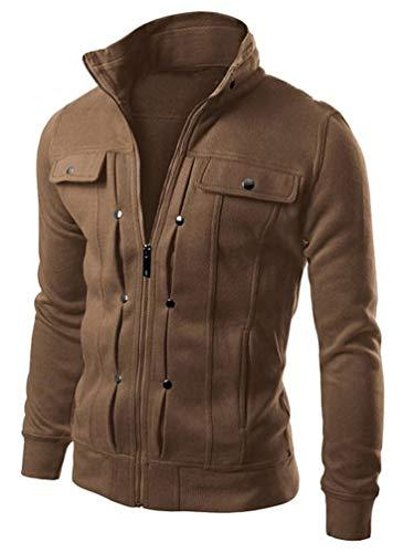 Mens Active Slim Fit Track Jacket Zip-up Long Sleeve Training Basic Designed (Color : Brown, Size : XL)