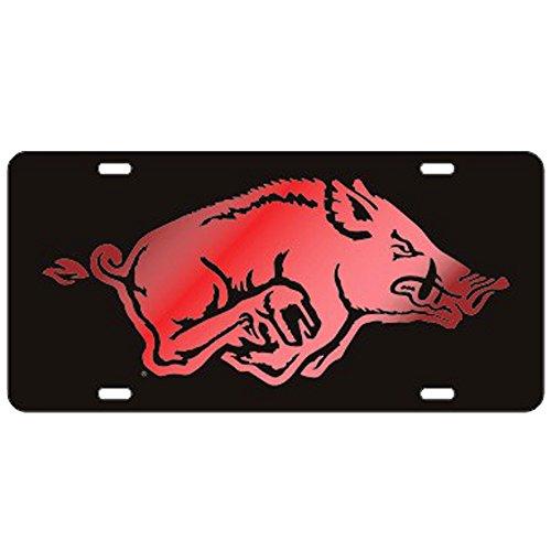 Craftique Arkansas Razorbacks Black w/Red Logo Laser Cut License Plate
