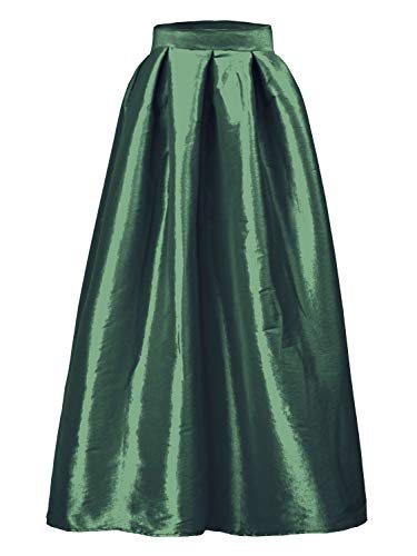 PERSUN Women's High Waist Flared Holiday Party Long Maxi Satin Skirt with Pockets(Black, Silver, Pink, Blue, Green)