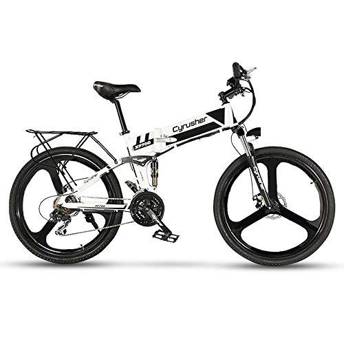 Cyrusher XF700 Electric Bike 400 Watt Mountain Electric Bike 21 Speeds Folding Electric Bicycle with 36V 10.4ah Battery Folding Bike(White)