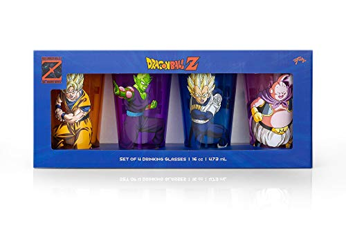JUST FUNKY Dragon Ball Z Official Fighters Pint Glasses | Features Goku, Vegeta, Piccolo, & Majin Buu | 16-Ounce Character Glasses | Set of 4