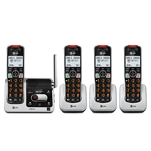 AT&T BL102-4 DECT 6.0 4-Handset Cordless Phone for Home with Answering Machine, Call Blocking, Caller ID Announcer, Audio Assist, Intercom, and Unsurpassed Range, Silver/Black