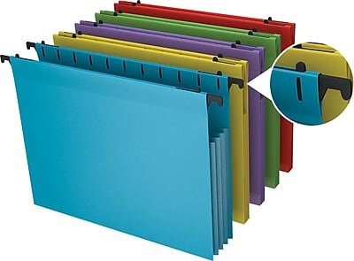 Staples Poly Expanding Hanging File Pockets, Letter, Assorted, 5/Pack (3 Packs of 5)