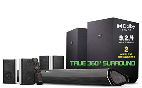 Nakamichi Shockwafe Ultra 9.2.4 Channel 1000W Dolby Atmos Soundbar with Dual 10' Subwoofers (Wireless) & 4 Rear Surround Effects Speakers. Enjoy Plug and Play Explosive Bass & High End Cinema Surround