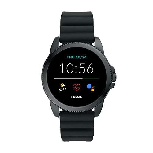 Fossil 44mm Gen 5E Stainless Steel and Silicone Touchscreen Smart Watch with Heart Rate, Color: Black (Model: FTW4047)