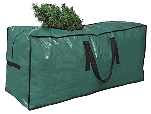"""Primode Christmas Tree Storage Bag   Fits Up to 7.5 Ft. Tall Disassembled Holiday Tree   45"""" x 15"""" x 20"""" Tree Storage Container   Protective Zippered Artificial Tree Bag with Handles (Green)"""