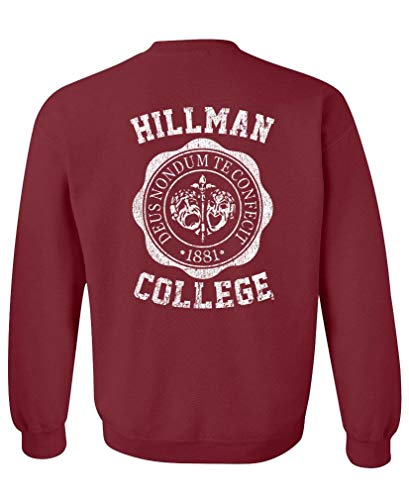 The Goozler Hillman Back Print V2 - Crew Neck Sweatshirt, Maroon, Large