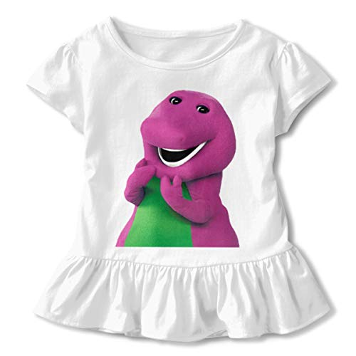 Hongansheng Trading Barney and Friends White Super Soft Cute T Shirt Shirts for 2-6 Years Old Girls