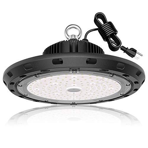 UFO LED High Bay Light 150W 21,000lm 5000K Daylight 600W HID/HPS Equivalent with US Plug 5' Cable LED Warehouse Lights Commercial Shop Workshop Garage Factory Lowbay Area Lighting Fixture