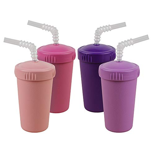 Re-Play Made in USA 4pk Straw Cups with Bendable Straw in Bright Pink, Blush, Purple and Amethyst | Made from Eco Friendly Heavyweight Recycled Milk Jugs - Virtually Indestructible (Princess+)