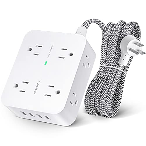 Surge Protector Power Strip - 8 Widely Outlets with 4 USB Charging Ports, 3 Side Outlet Extender with 5Ft Braided Extension Cord, Flat Plug, Wall Mount, Desk USB Charging Station for Home Office