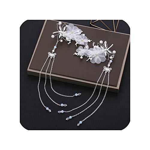 Flower Tassels Hairpins Hair Clips Chinese Wedding Bride Hair Pins Headbands Accessories Ancient Costume Hanfu Hair Sticks 904,Silver With Tassels