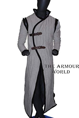 THE ARMOUR WORLD Medieval Gambeson SCA LARP in Standard Sizes White Color Jacket Armor (M)