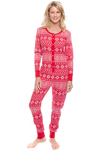 Noble Mount Thermal Onesie Pajamas for Women - Fair Isle Red/White - X-Large