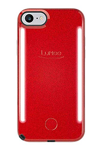 LuMee Duo Phone Case, Red Glitter | Front & Back LED Lighting, Variable Dimmer | Shock Absorption, Bumper Case, Selfie Phone Case | iPhone 8 / iPhone 7 / iPhone 6s / iPhone 6