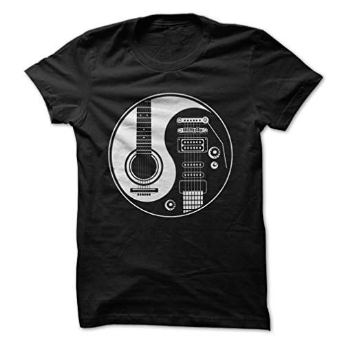 Yin Yang of Guitar-T-Shirt/Black/L - Made On Demand in USA