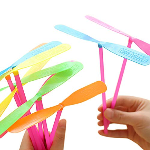 TIHOOD 100PCS Plastic Dragonfly Plastic Bamboo-Copter Bamboo Dragonfly Toy Multi-Colored Great Party Favors for Kids Boys and Girls