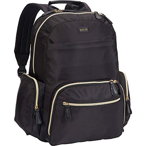 Kenneth Cole Reaction Women's Sophie Backpack Silky Nylon 15' Laptop & Tablet RFID Bookbag for School, Work, & Travel, Black, One Size