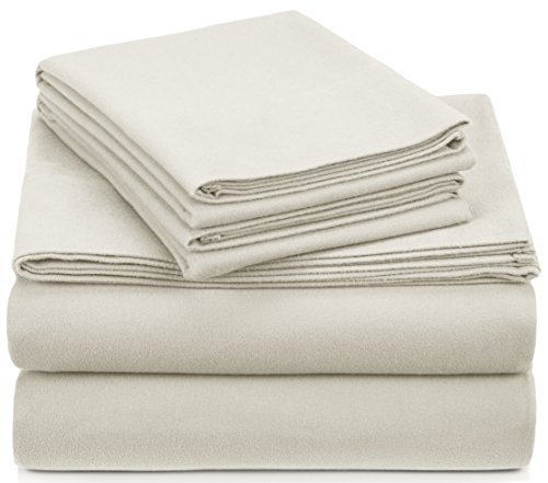 Pinzon Signature Cotton Heavyweight Velvet Flannel Sheet Set - Queen, Cream