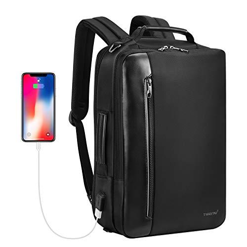 Slim Laptop Backpack, Fintie Convertible Flight Approved Carry-On Daypack Shoulder Briefcase Messenger Bag with USB Port for Travel Business work fits 15.6' Laptop